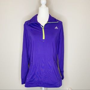 Adidas Women's Purple & Neon Green Pullover Jacket